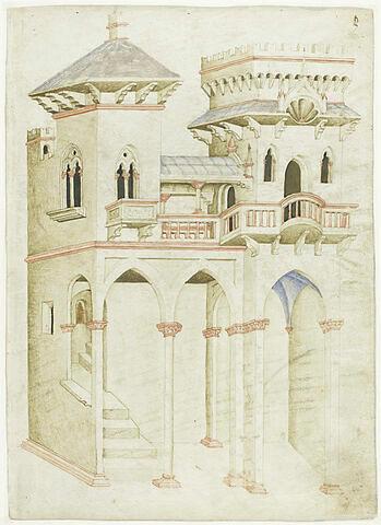Architecture civile : cour de palais avec escalier intérieur