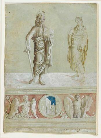Saint Paul, repris postérieurement, et autre saint, soubassement décoratif