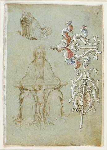 Dieu le Père tenant le Christ en croix, femme prosternée, motifs de rinceaux postérieurs