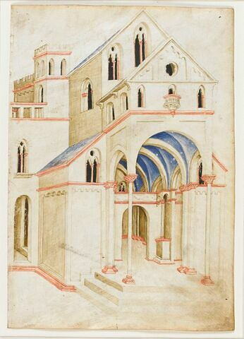Vue perspective d'une église gothique