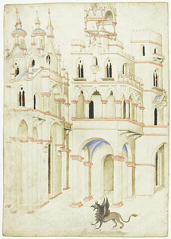 Vue de plusieurs édifices ornés de clochetons et de tourelles, et griffon ailé