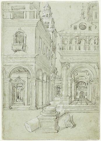 Vue perspective d'une cité avec colonne à terre au premier plan