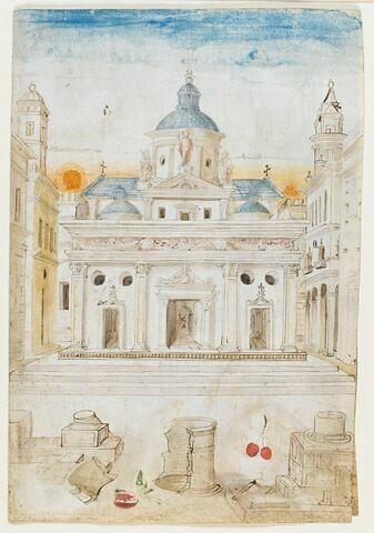 Façade d'une église Renaissance avec, au premier plan, des ruines antiques et des fruits