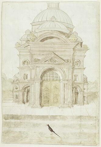Façade d'une église Renaissance et un oiseau