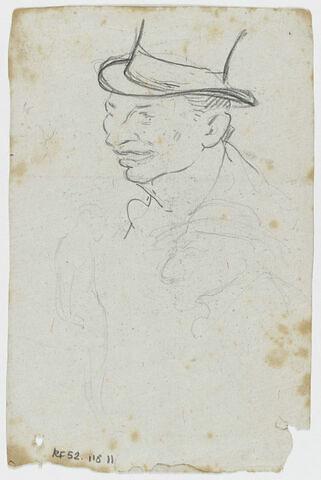 Tête d'homme de trois quarts à gauche, coiffé d'un haut de forme et croquis inachevés d'une silhouette et d'une tête d'homme de profil à gauche, coiffé d'un chapeau