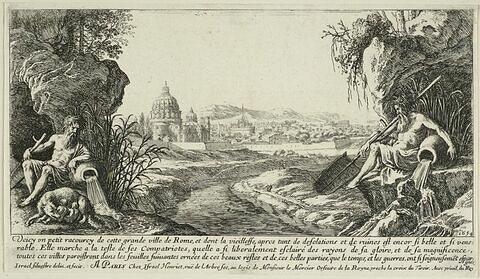 Vue de Saint Pierre et de Castel Sant'Angelo entre les figures du Tibre et de l'Aniène