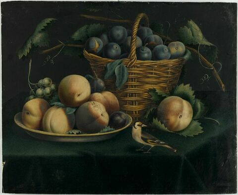 Nature morte avec prunes, pêches et un chardonneret