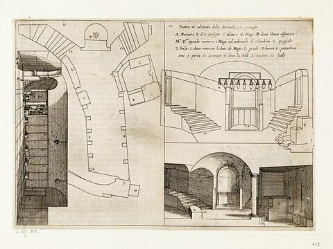Figures du Voyage en Terre Sainte. Plan et coupe longitudinale de la Grotte et de la Basilique de la Nativité
