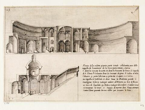 Figures du Voyage en Terre Sainte. Coupe longitudinale de la Basilique du Saint-Sépulcre côté sud.