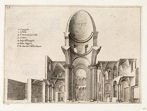 Figures du Voyage en Terre Sainte. Coupe longitudinale de la Basilique du Saint Sépulcre