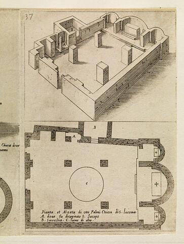 Figures du Voyage en Terre Sainte. Plan et élévation de l'église Saint Jacques
