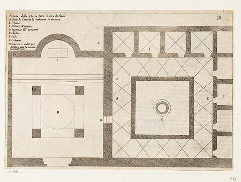 Figures du Voyage en Terre Sainte. Plan de l'église Sainte Anne à Jérusalem