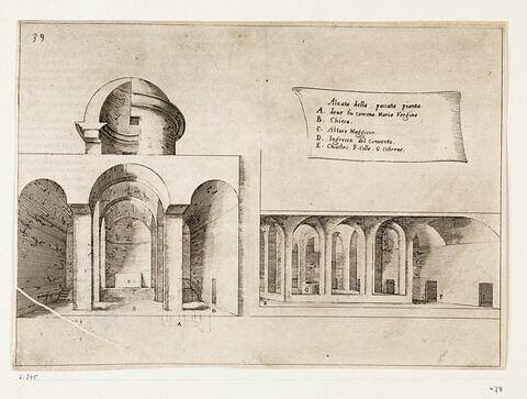 Figures de Voayes en Terre Sainte. Coupe longitudinale de l'église Sainte Anne à Jérusalem