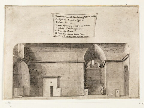 Figures du Voyage en Terre Sainte. Coupe longitudinale de l'église du Saint-Sépulcre de la Vierge à Jérusalem