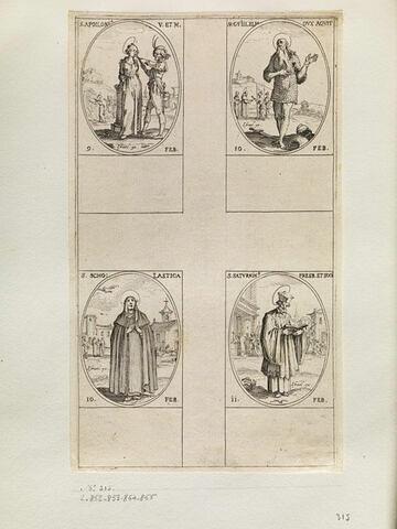 Sainte Apolline; Saint Guillaume; Sainte Scolastique; Saint Saturnin