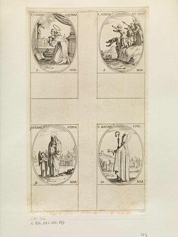 Saint Thomas d'Aquin; Saint Adrien et ses compagnons; Sainte Françoise; Saint Macaire