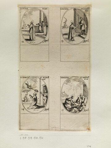 Saint Victor; Saint Justin; Saint Tiburce et Saint Valérien; Sainte Basilisse et Sainte Anastasie