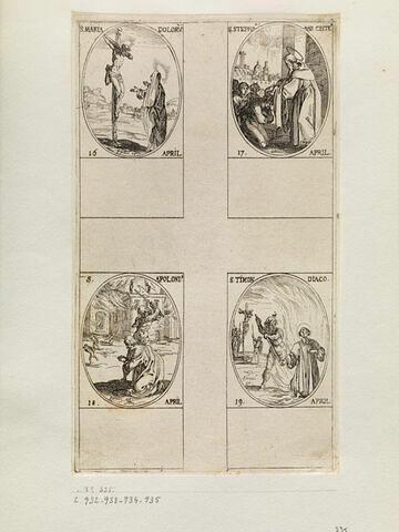 Sainte Marie des Douleurs; Sainte Etienne; Saint Apollonius; Saint Timon