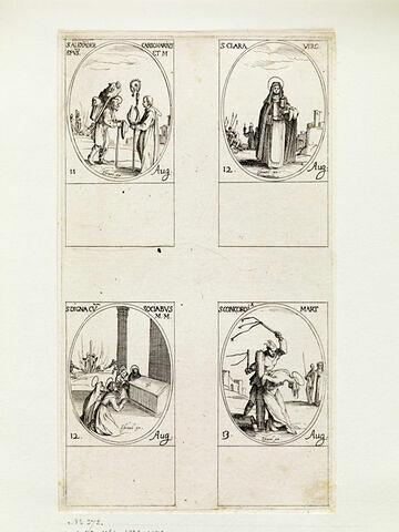Saint Alexandre le Charbonnier; Sainte Claire; Sainte Digne et ses compagnes; Sainte Concorde