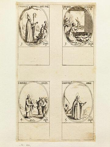 Saint Mansuet; Sainte Séraphie et Sainte Erasme; Saint Moïse; Saint Bertin