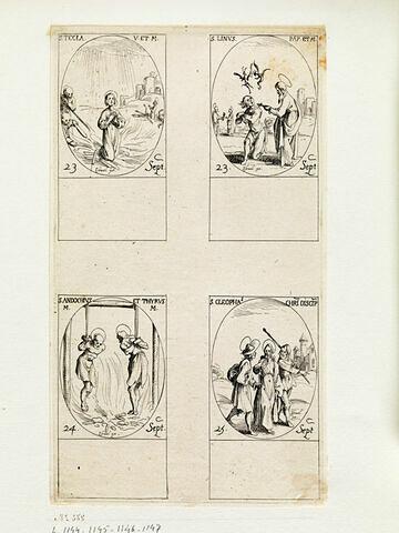 Saint Thècle; Saint Lin; Saint Andoche et Saint Tyrse; Saint Cléophas