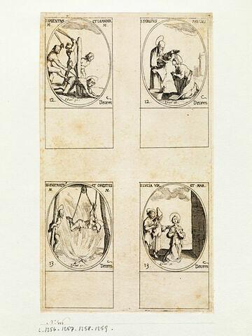 Saint Maxence et Saint Léandre; Saint Serge et Paul; Saint Eustrate et Saint Oreste; Sainte Lucie