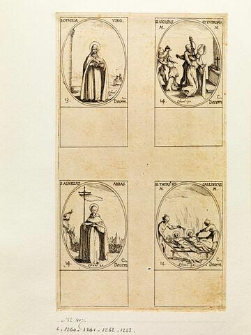 Sainte Othilie; Saint Nicaise et Sainte Eutropie; Saint Agnelet; Saint Thyrse et Saint Callinique