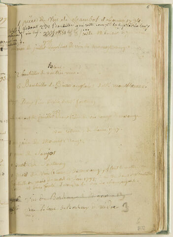 Notes : suite de l'état de la cave de l'artiste, années 1796, 1797, 1798