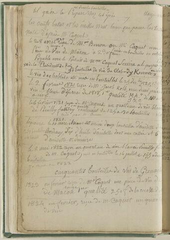 Notes : suite des achats de vin, années 1821, 1822, 1823, 1824...