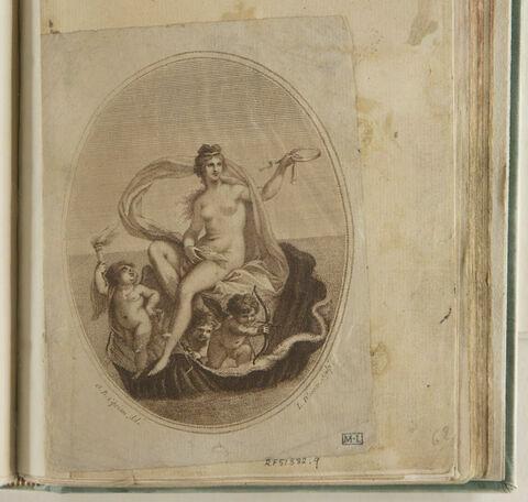 Vénus assise dans une conque avec trois amours