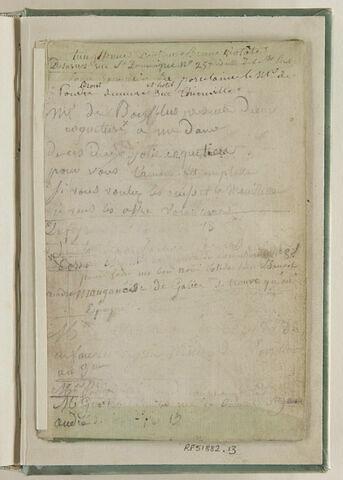 Fragment de la couverture d'origine de l'album, plat formant soufflet sur lequel est collée une feuille de papier avec liste de noms et d'adresses