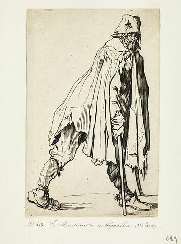 Les Gueux ou Mendiants : Le Mendiant aux béquilles, coiffé d'un bonnet