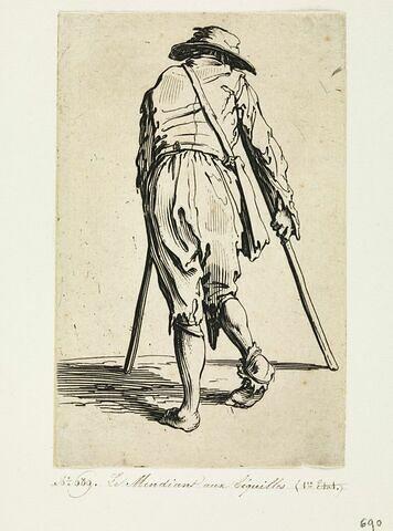 Les Gueux ou Mendiants : Le Mendiant aux béquilles, coiffé d'un chapeau, vu de dos