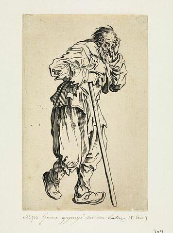 Les Gueux ou Mendiants : Gueux appuyé sur un bâton