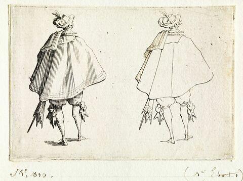 Les Caprices : Le Gentilhomme au grand manteau vu de dos