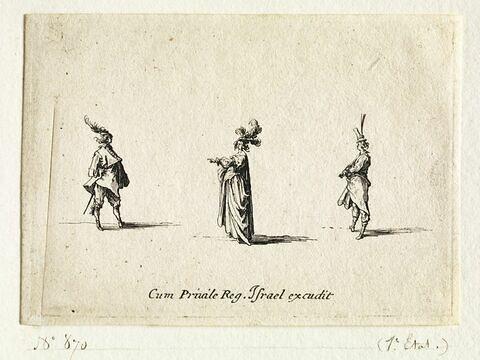 Les Fantaisies : La dame à la main tendue entre deux gentilshommes de profil