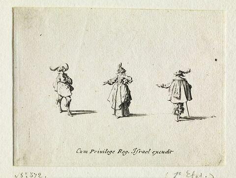 Les Fantaisies : La dame decolletée conversant avec deux gentilshommes