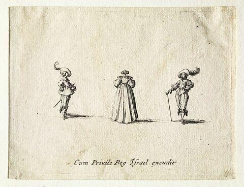 Les Fantaisies : La dame tournant le dos entre deux hommes