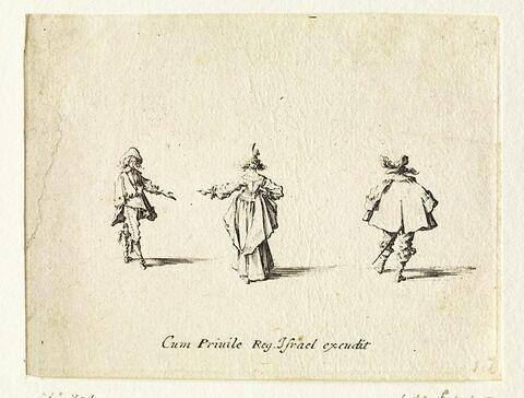 Les Fantaisies : La dame à l'aigrette, de dos, entre deux hommes