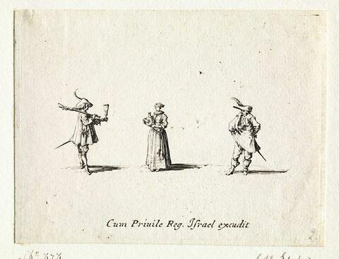 Les Fantaisies : Le chasseur au hanap, avec une femme servant à boire et un homme