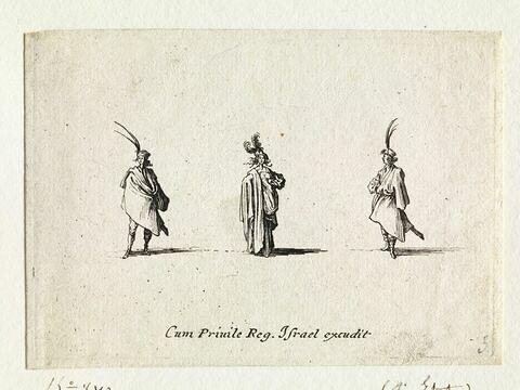 Les Fantaisies : Les deux seigneurs polonais avec des sabres encadrant une dame au grand manteau