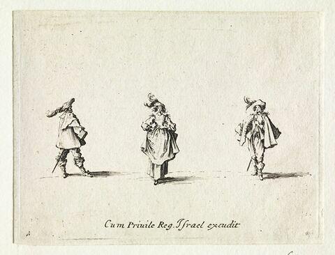 Les Fantaisies : La dame retenant la jupe de dessus entre deux hommes