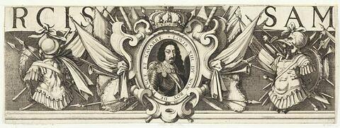 Siège de Saint-Martin de Ré. Bordure: Portrait de Louis XIII