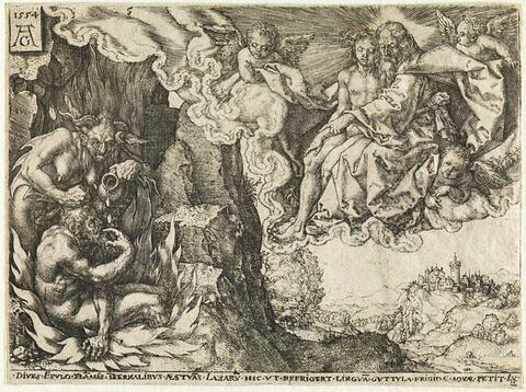 Le mauvais riche voit Lazare dans le sein d'Abraham