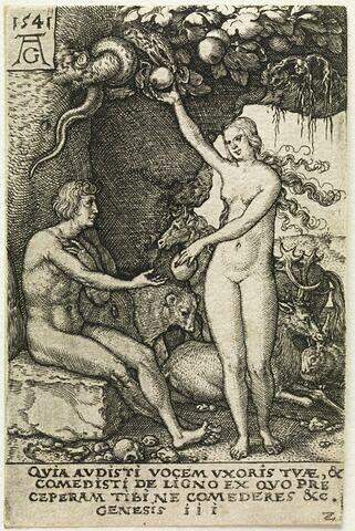 Adam et Eve mangeant le fruit défendu