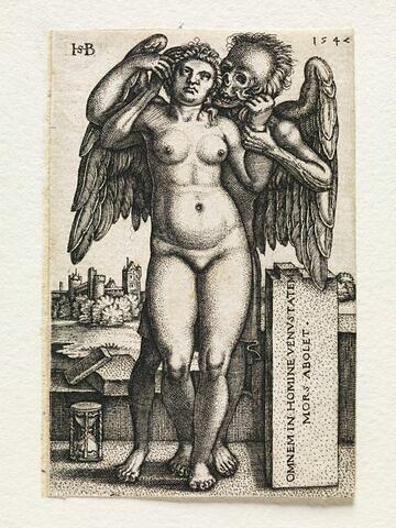 La mort se saisissant d'une femme nue