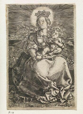 La Vierge assise sur un banc de gazon