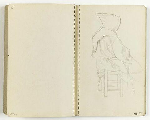 Etude de moine assis de profil sur un tabouret