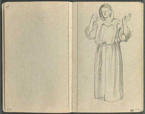 Etude de moine de face, debout
