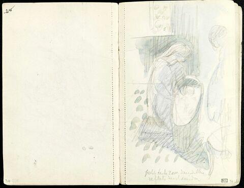 Femme de profil devant un berceau et personnage debout à droite